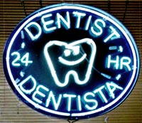 Neon 24-hour dentist sign